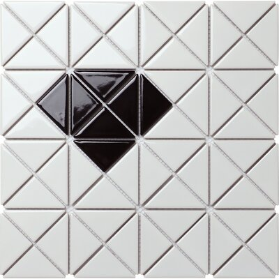 Single Diamond Series 2.33 x 1.66 Porcelain Mosaic Tile in Glossy Black