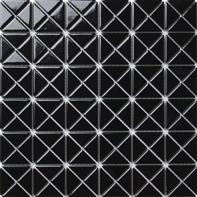 Single Color Series 1.58 x 1.16 Porcelain Mosaic Tile in Glossy Black