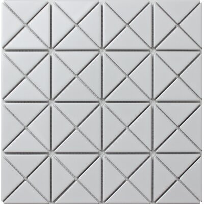 Single Color Series 2.33 x 1.66 Porcelain Mosaic Tile in Matte White