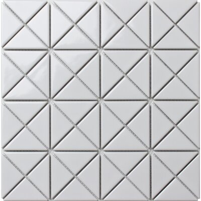 Single Color Series 2.33 x 1.66 Porcelain Mosaic Tile in Glossy White