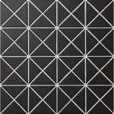 Unglazed Triangle 1 x 2 Porcelain Mosaic Tile in Black