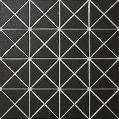 Unglazed Triangle 1 x 2 Porcelain Mosaic Tile in Black