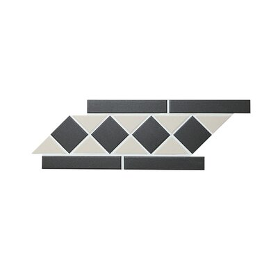 Borderline Square and Triangle 1 x 2 Porcelain Mosaic Tile in Black and White