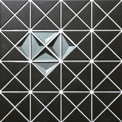 Triangle Single Diamond 1.65 x 2.36 Porcelain and Glass Mosaic Tile in Black