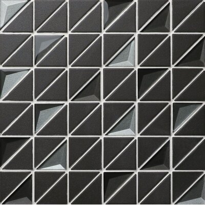 Triangle Half Free 1.65 x 2.36 Porcelain and Glass Mosaic Tile in Black
