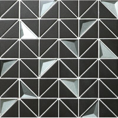 Unglazed and 3D Artistic Kitchen Backsplash 10.83 x 0.24 Porcelain/Glass Mosaic Tile in Black