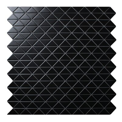 Zip Connection 10.28 x 10.12 Porcelain Mosaic Tile in Black