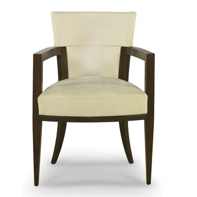 Gotham Armchair Upholstery: Summer White Canter, Finish: Walnut