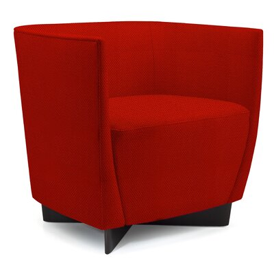 Vella Barrel Chair Finish: Medium Cherry, Seat Color: Indigo Solace