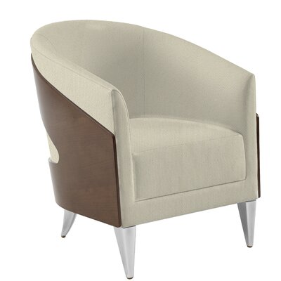 Aurora Barrel Chair Upholstery: Indigo Solace, Finish: Medium Cherry