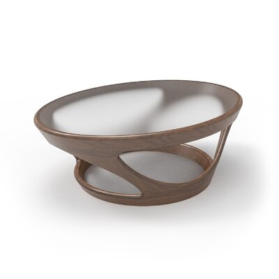 Flo�Oval Glass Top�Coffee Table Color: Brown