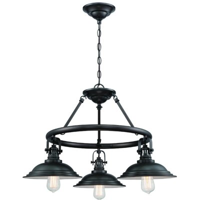 Waldrup 3-Light Shaded Chandelier Finish: Polished Nickel