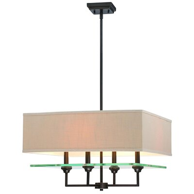 Marseilles 4-Light Shaded Chandelier Finish: Burnished Bronze