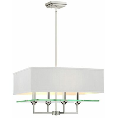 Potts 4-Light Shaded Chandelier Finish: Polished Nickel