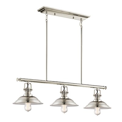 The Bowery 3-Light Kitchen Island Pendant Finish: Polished Nickel