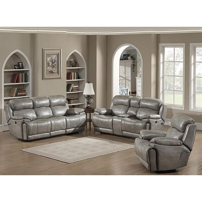 Motion Stucco 3 Piece Leather Living Room Set