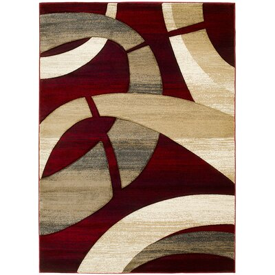 Abstract Hand-Woven Red/Tan Area Rug Rug Size: 8 x 11