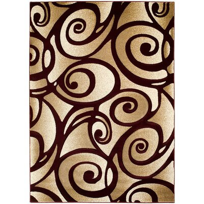 Scroll Hand-Woven Burgundy/Beige Area Rug Rug Size: 5 x 7
