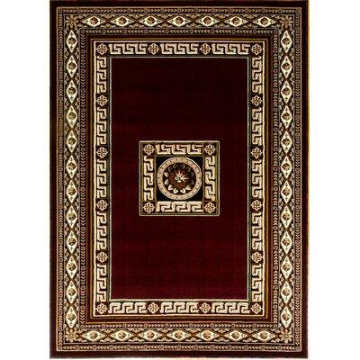 Persian Boarder Burgundy/Beige Area Rug Rug Size: 6 x 9