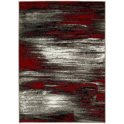 Abstract Lava Red/Gray Area Rug Rug Size: 5 x 7