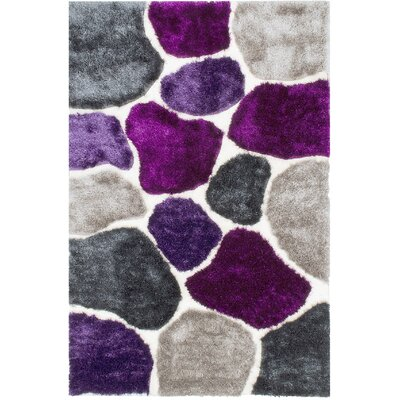 Hand-Tufted Lilac Purple/Gray Area Rug Rug Size: 5 x 7