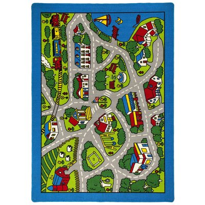 Street Map Green/Gray Kids Rug Rug Size: 7 x 10