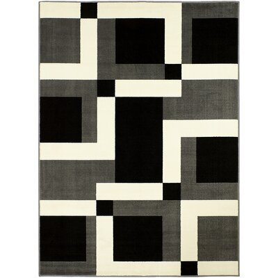 Geometric Gray/White Area Rug Rug Size: 5 x 7