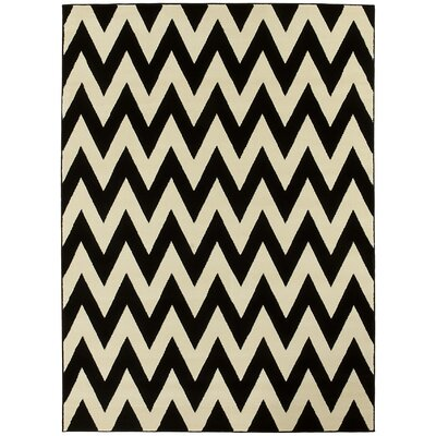 Modern Chevron Hand-Woven Black/Beige Area Rug Rug Size: 5 x 7