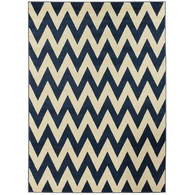 Modern Chevron Hand-Woven Blue/Beige Area Rug Rug Size: 8 x 11