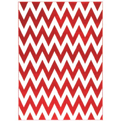 Modern Chevron Hand-Woven Red/White Area Rug Rug Size: 5 x 7
