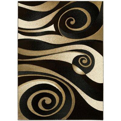 Swirl Hand-Woven Black/Beige Area Rug Rug Size: 5 x 7