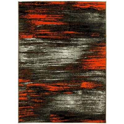 Abstract Orange/Gray Area Rug Rug Size: 5 x 7