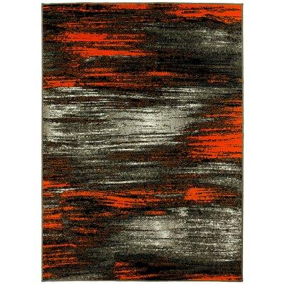 Abstract Orange/Gray Area Rug Rug Size: 5 x 7
