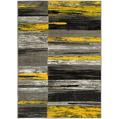 Abstract Yellow/Gray Area Rug Rug Size: 8 x 10