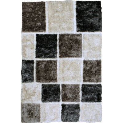 Contemporary Shaggy Hand-Tufted White/Gray/Black Area Rug Rug Size: 5 x 7