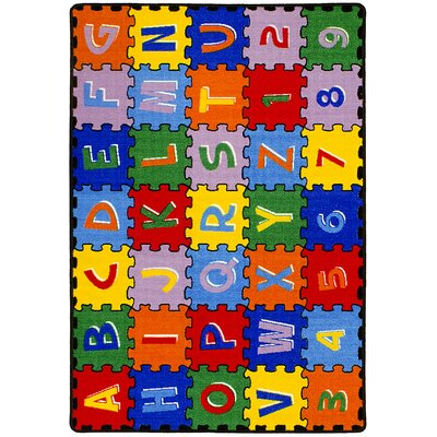 ABC Puzzle Blue/Green Kids Rug Rug Size: 5 x 7
