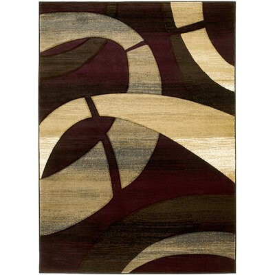 Abstract Hand-Woven Burgundy/Tan Area Rug Rug Size: 5' x 7'