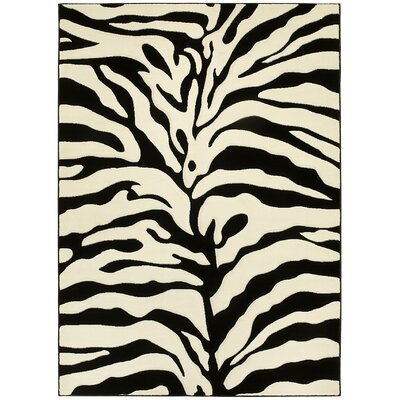 Animal Print Hand-Woven Black/White Area Rug Rug Size: 5 x 7