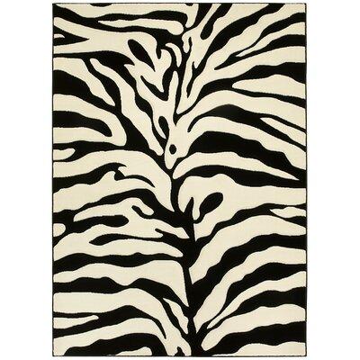 Animal Print Hand-Woven Black/White Area Rug Rug Size: 8' x 11'