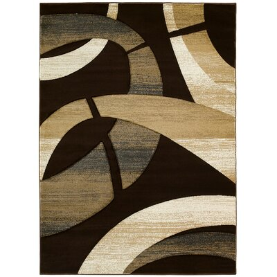 Abstract Hand-Woven Chocolate/Tan Area Rug Rug Size: 5 x 8