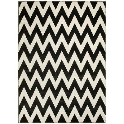Modern Chevron Hand-Woven Coal/White Area Rug Rug Size: 5 x 7