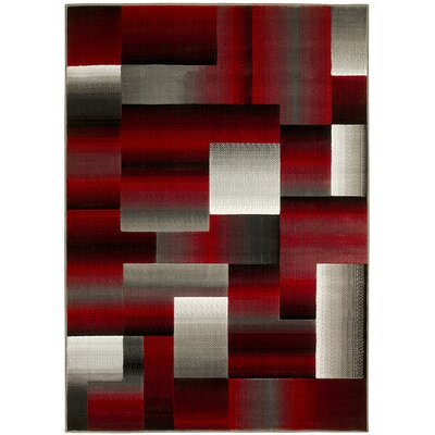 Abstract Red/Gray Area Rug Rug Size: 8 x 10