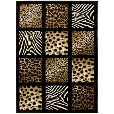 Animal Print Hand-Woven Black/Beige Area Rug Rug Size: 5 x 7