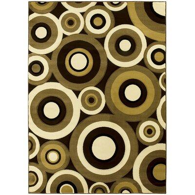 Geometric Circular Hand-Woven Chocolate/Tan Area Rug Rug Size: 5 x 7