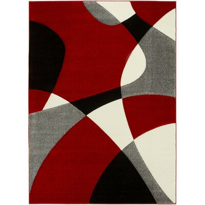 Contemporary Geometric Handmade Red/Gray Area Rug Rug Size: 5 x 7