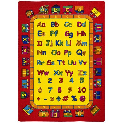 ABC Fun Yellow/Red Kids Rug Rug Size: 7 x 10