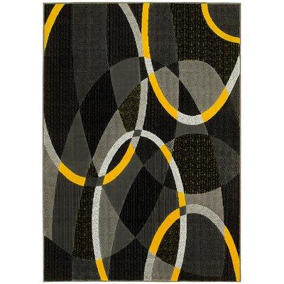 Circular Yellow/Gray Area Rug Rug Size: 8 x 10