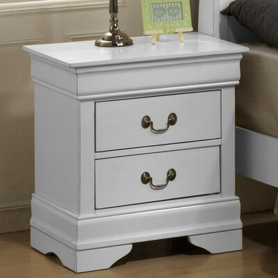 Renaissance 2 Drawer Nightstand Finish: White