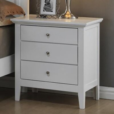 3 Drawer Nightstand Finish: White