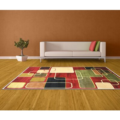 Geometric Red Area Rug Rug Size: 5 x 7